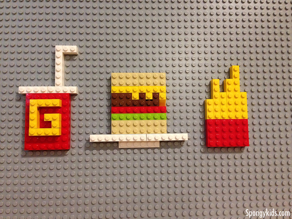 hamburger, soda, and french fries made of legos - spongykids.com
