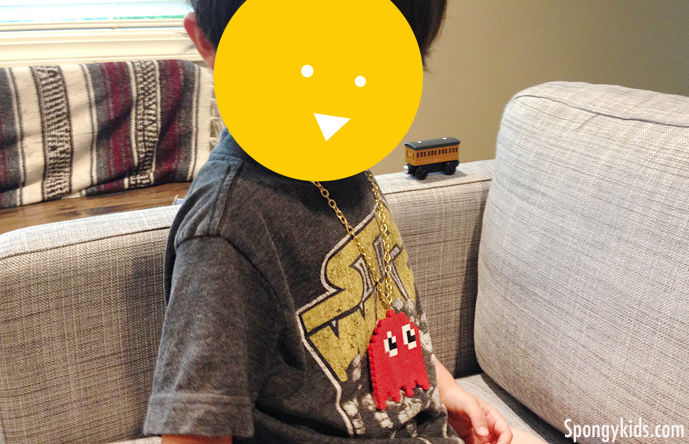 Pac Man Ghost pendant with Iron Beads (Perler Beads)