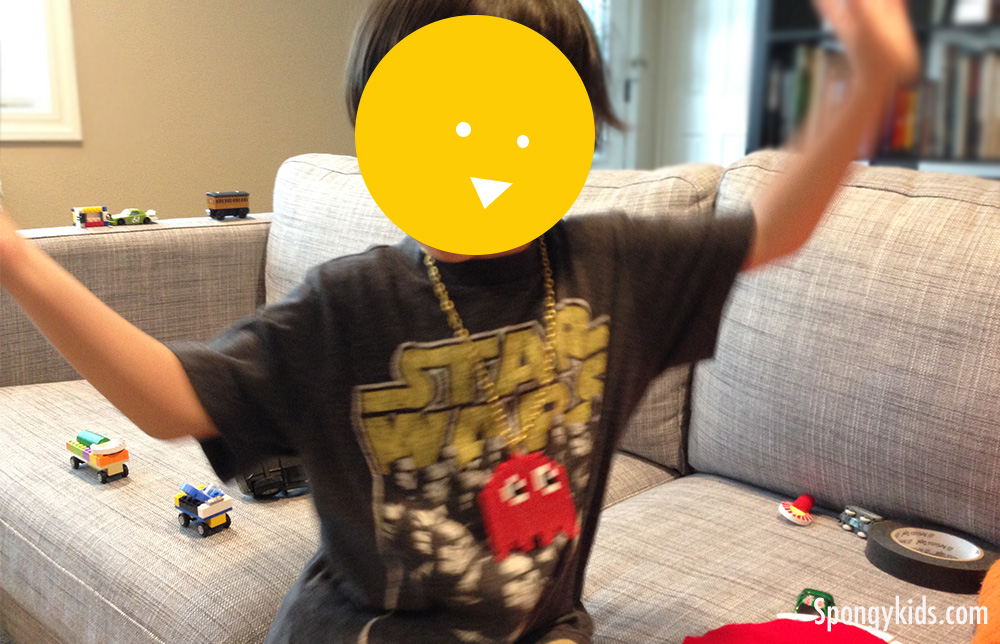 Kids with Pac Man Ghost pendant with Iron Beads (Perler Beads)
