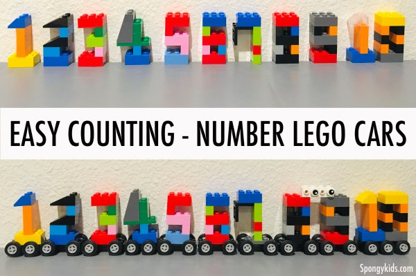 Easy Counting Number Lego Cars - Spongykids.com