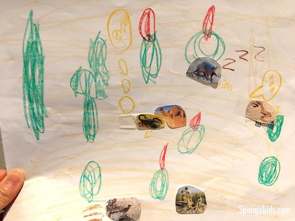 Habitats: Deserts - Drawing by 1st grade