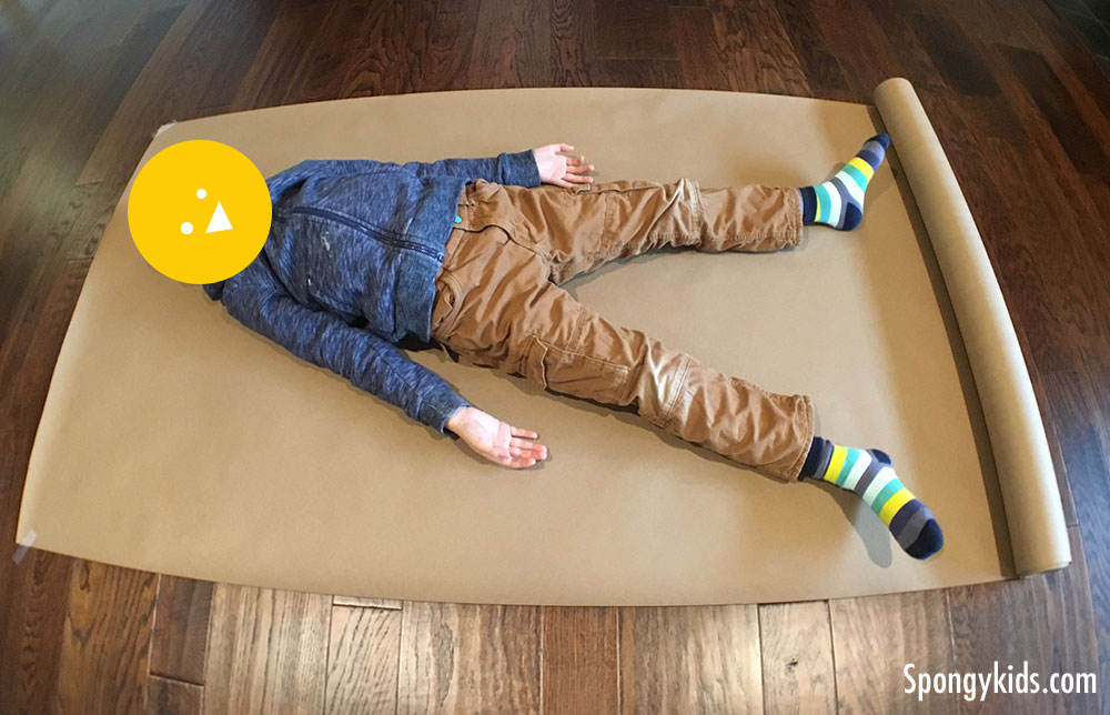 Body Tracing (laying on the paper) Learning about the Human Body with Kids