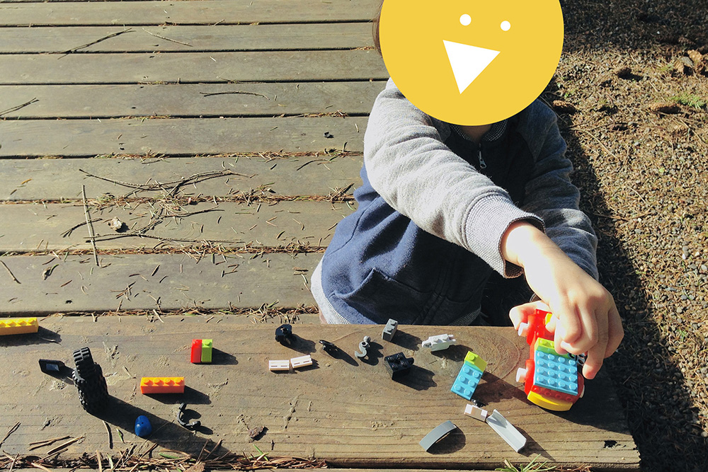 Making lego outside LEGO Activities for Kids: Playing Outside with LEGO trucks