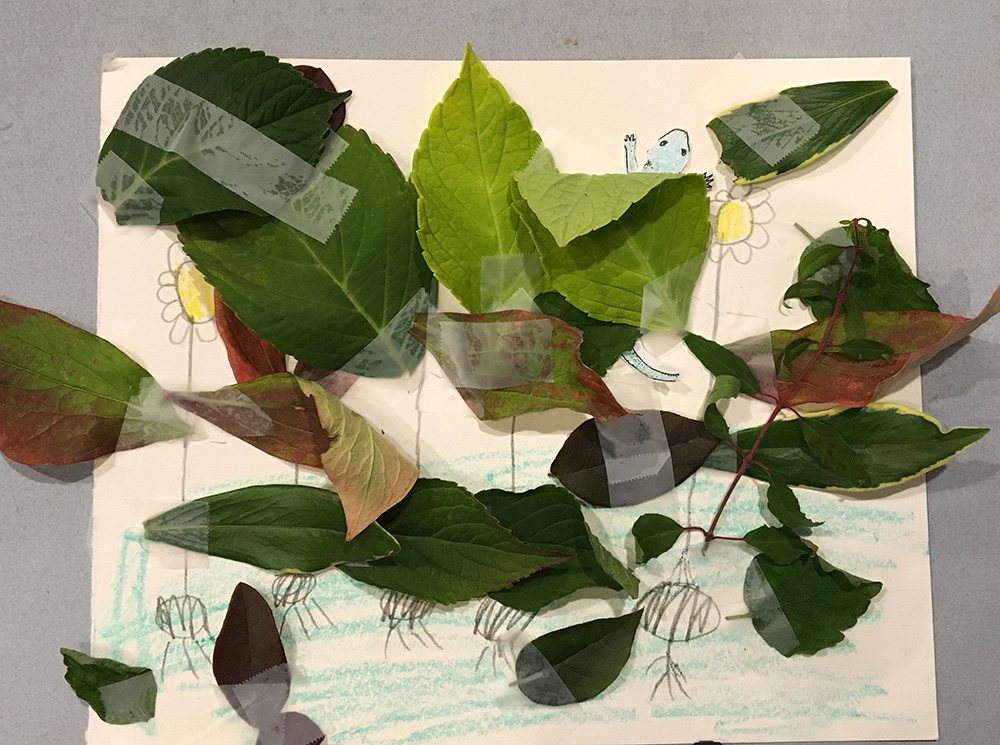 Introducing Camouflage for Kids with leaves and drawings