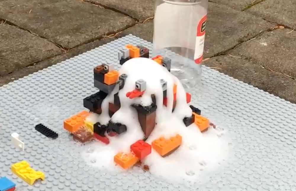 Baking soda and vinegar volcano eruption