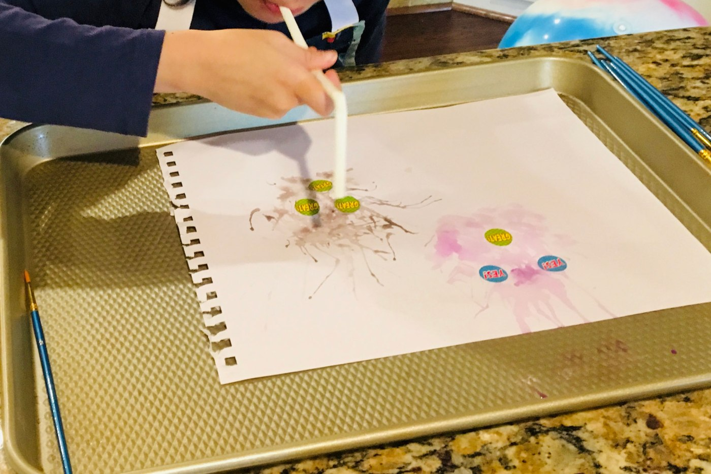Blow Painting with Straws and stickers
