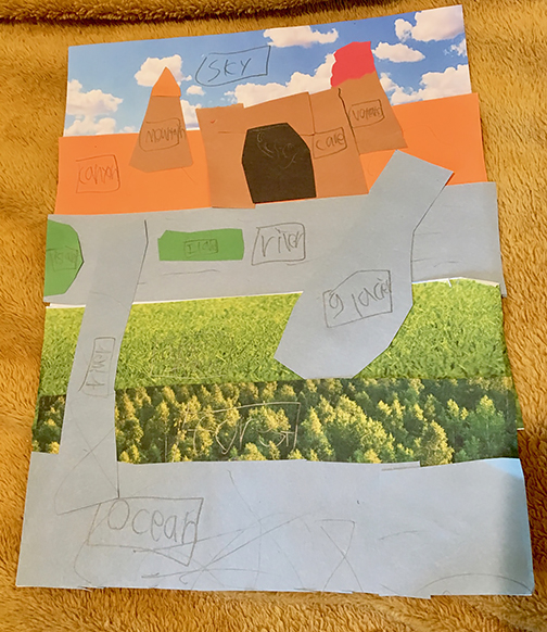 2nd-grade landforms collages Art Project